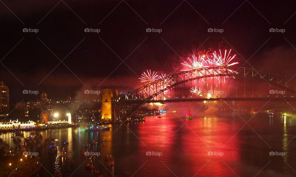 Sydney harbor bridge with fireworks at night