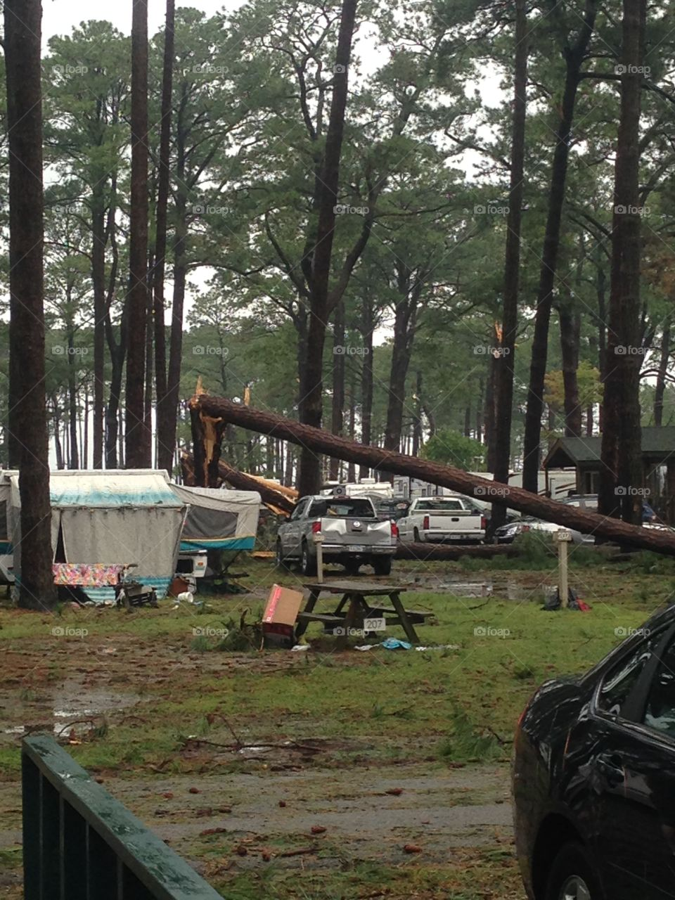 Destruction in a campground after a tornado