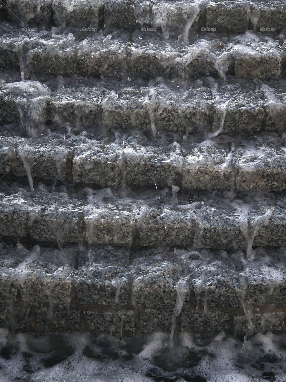 Water Fountain Water Flowing Down Brick Steps