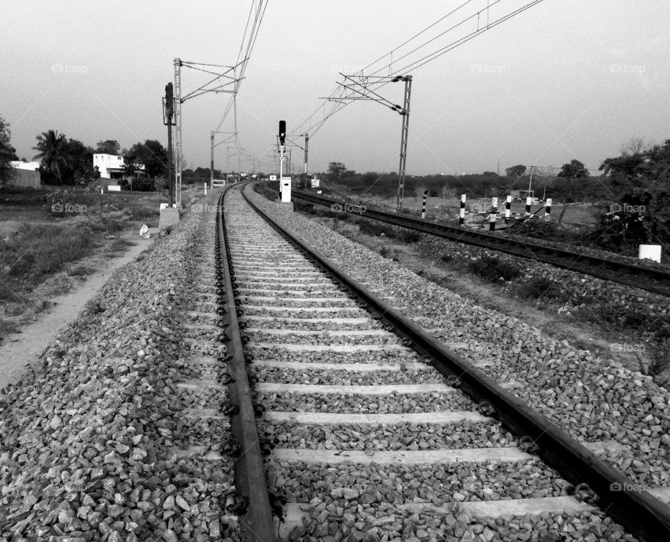 Close-up of railroad track
