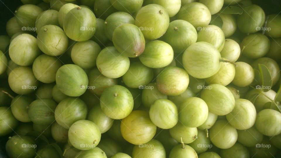 Elevated view of gooseberries