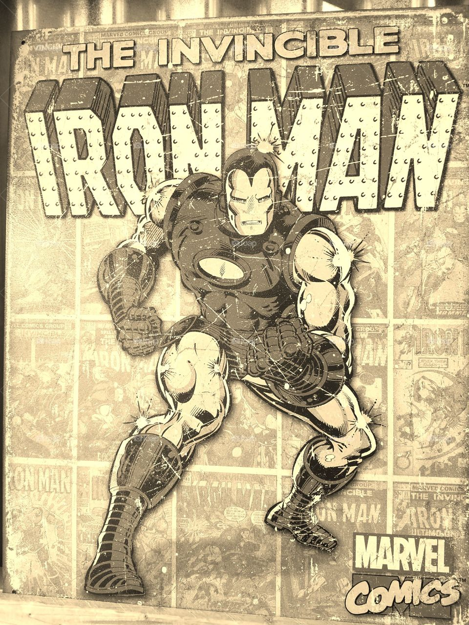 The Invincible Iron Man - Marvel Comics.  Poster in Sepia.
