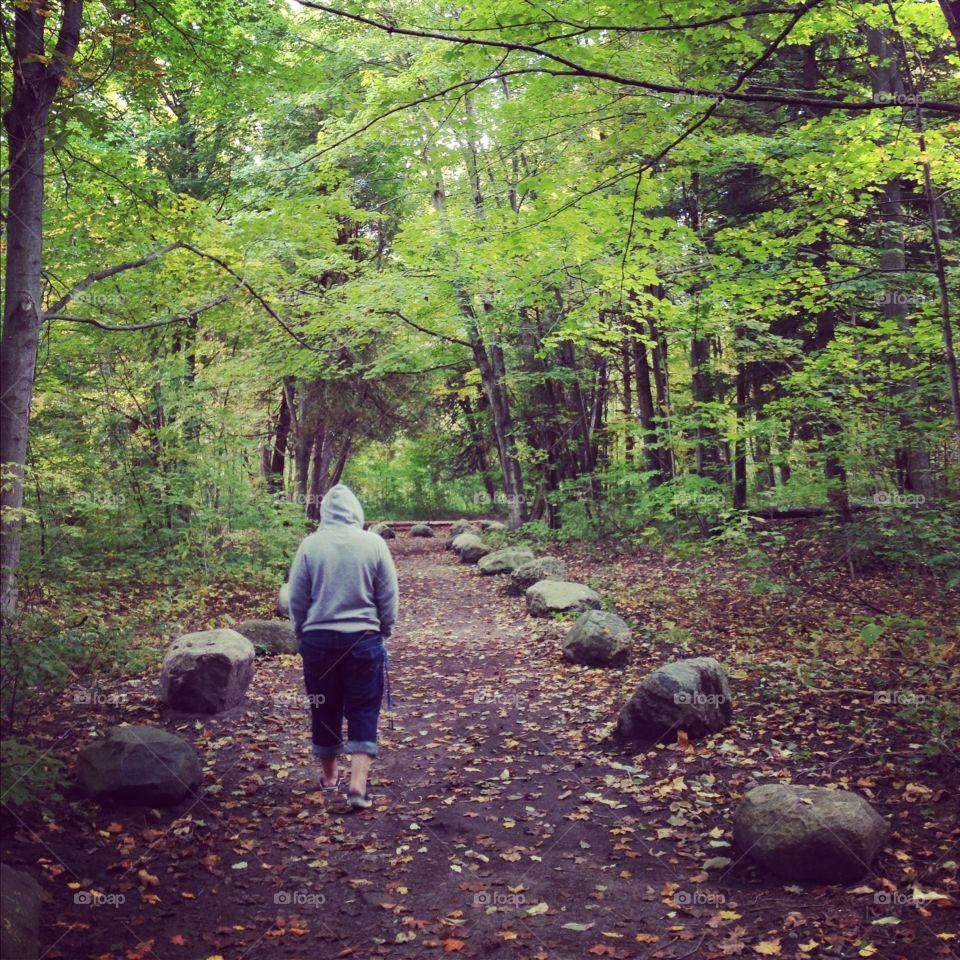 Walking through rouge park