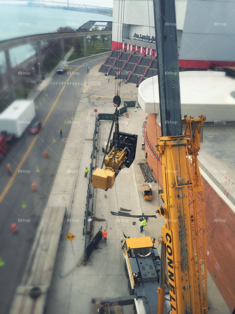 Moving a generator to the roof of a building in Detroit!