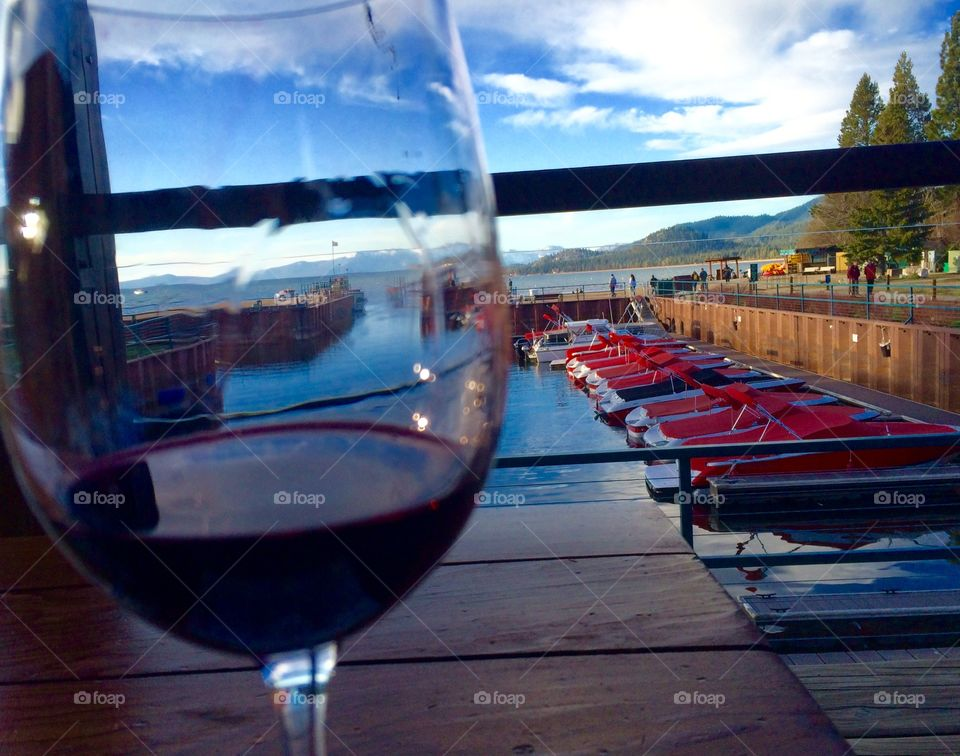 A glass of wine in the marina