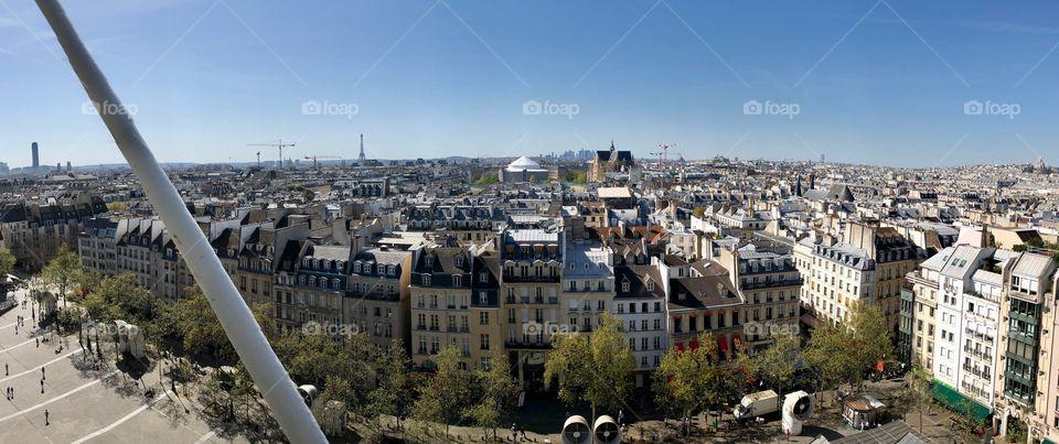 High angle panoramic view of Paris