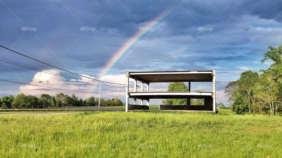 Rainbow over ruins