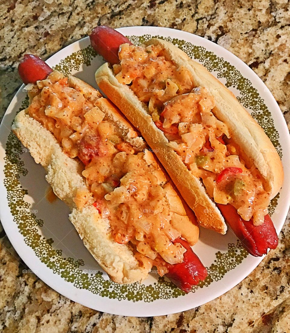 Footlong with chopped tomato, onions and celery with mustard and thousand island dressing
