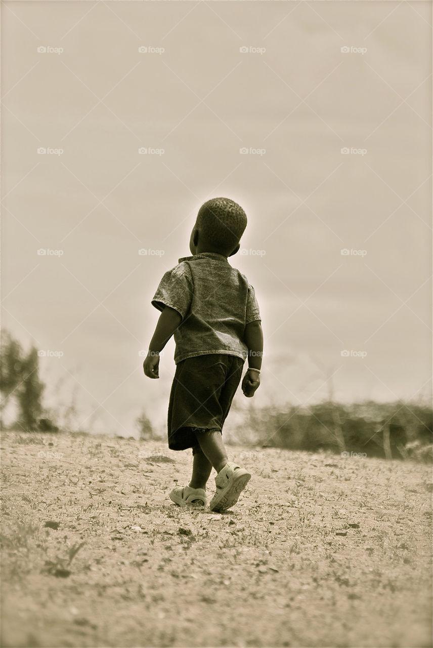 Little man walking