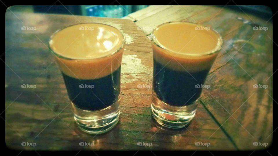 Baby Guinness shots in Dublin. When in Dublin & you don't like beer...take baby Guinness shots!