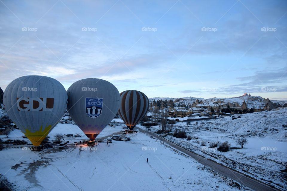 Balloons ready to take off, cappadocia, turkey