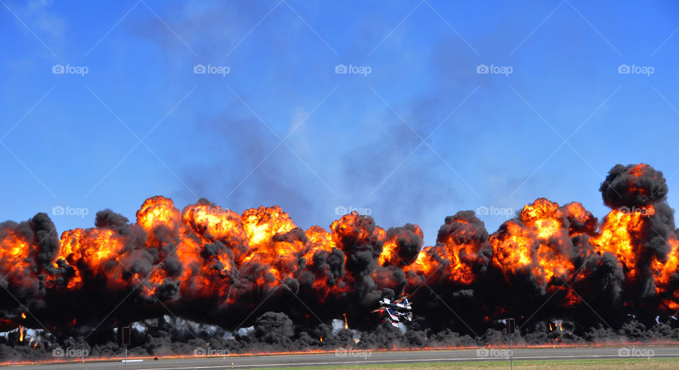 Wall of fire aerobatic stunt during the 2013 Australian International