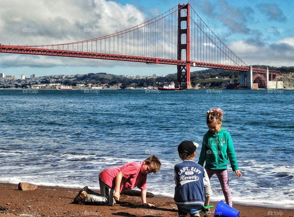 Kids Near Golden Gate Bridge
