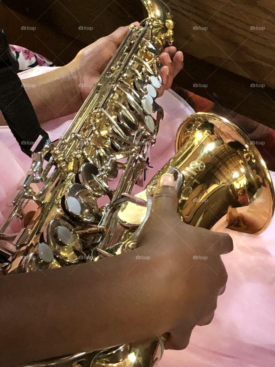 Saxophone in hand