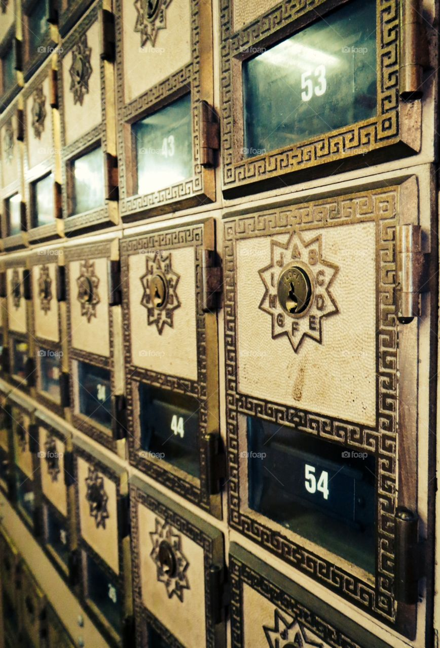 Post Office. Old post office boxes