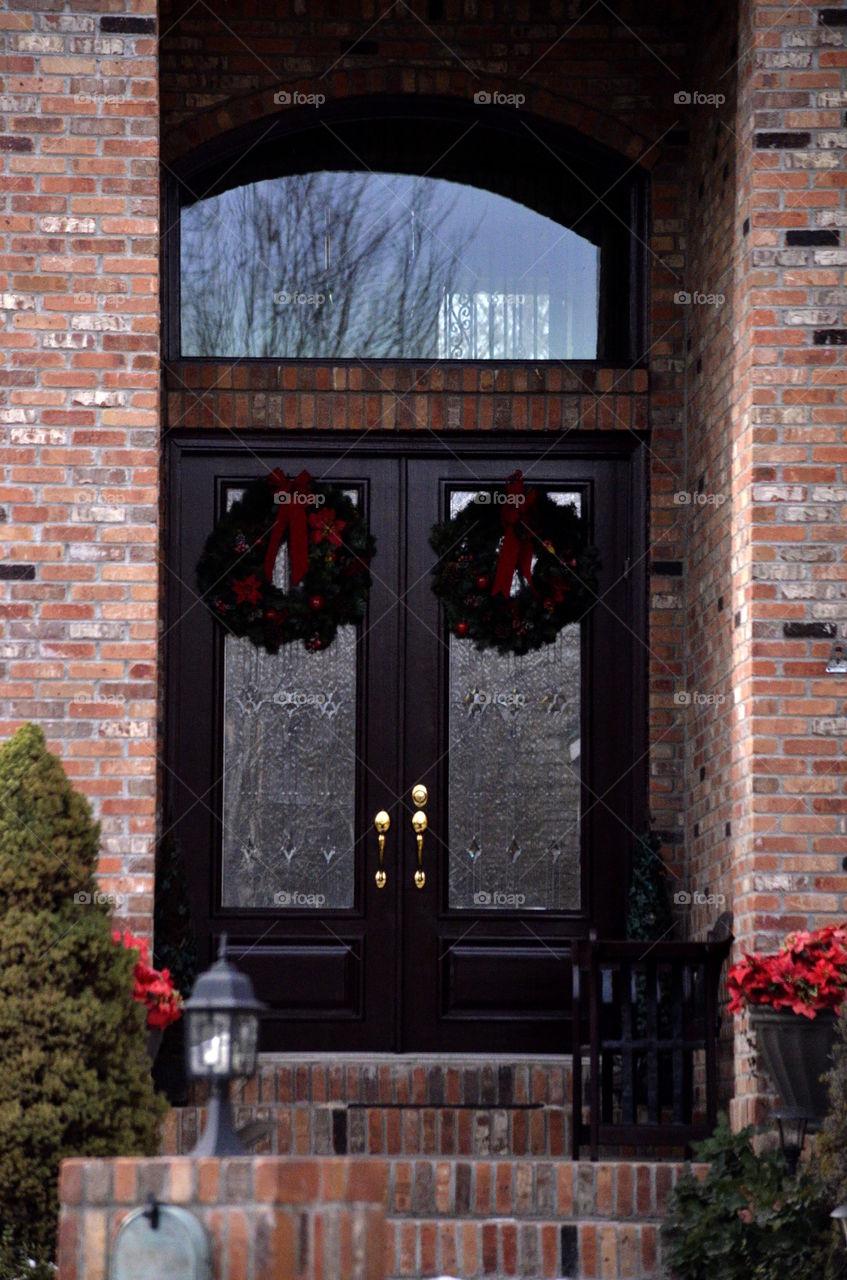 Wreath hanging on closed door