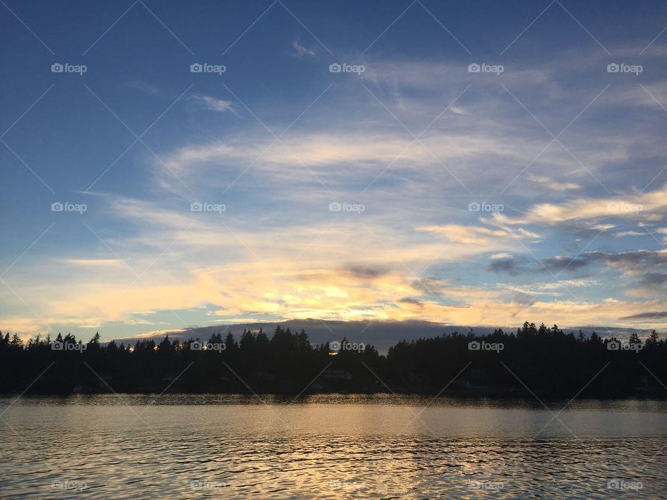 Water, Lake, Dawn, Sunset, Reflection