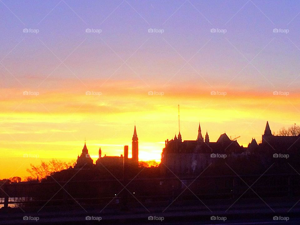 Sunrise and Parlement Building in Ottawa