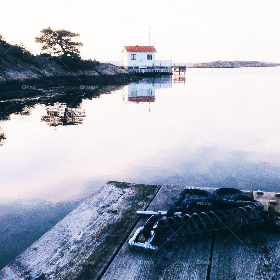 Calm Scandinavian environment . Scandinavian archipelago