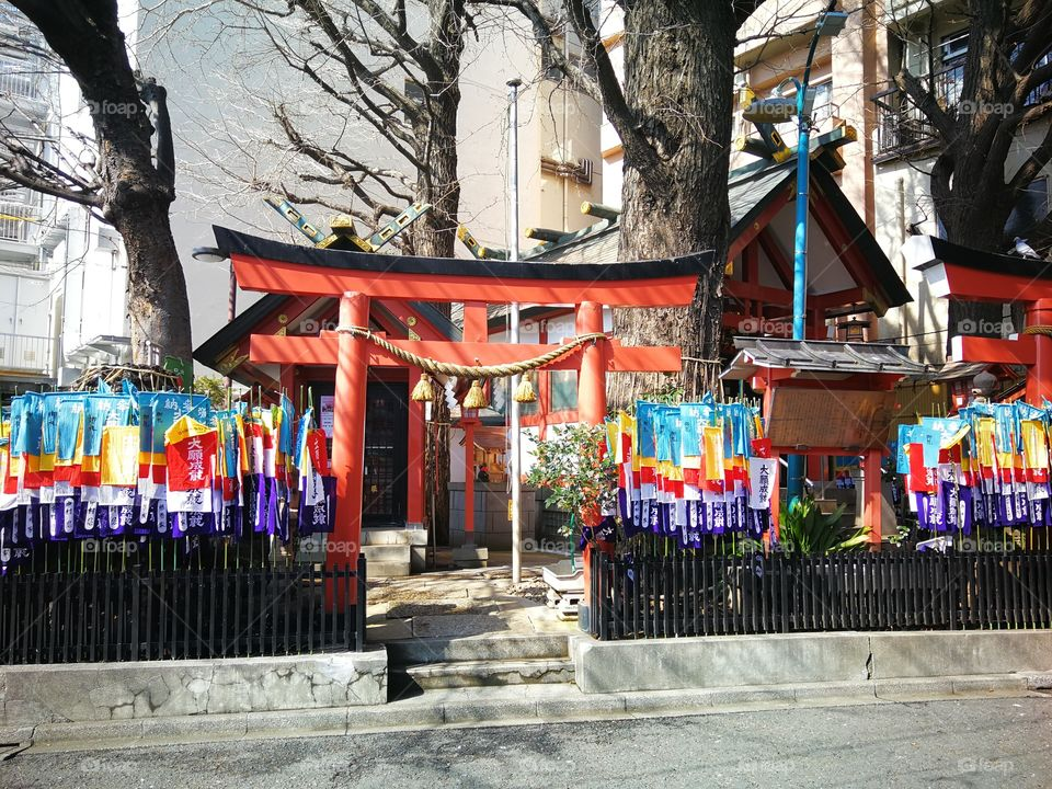 A local colorful shrine in the city of Tokyo