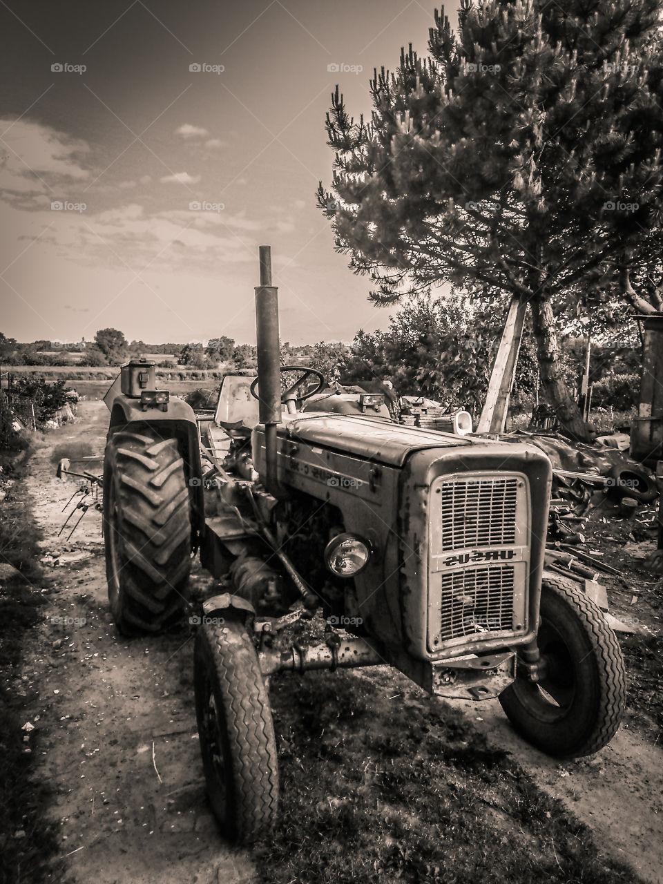 Old retro tractor
