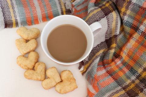 High angle view of tea with snacks