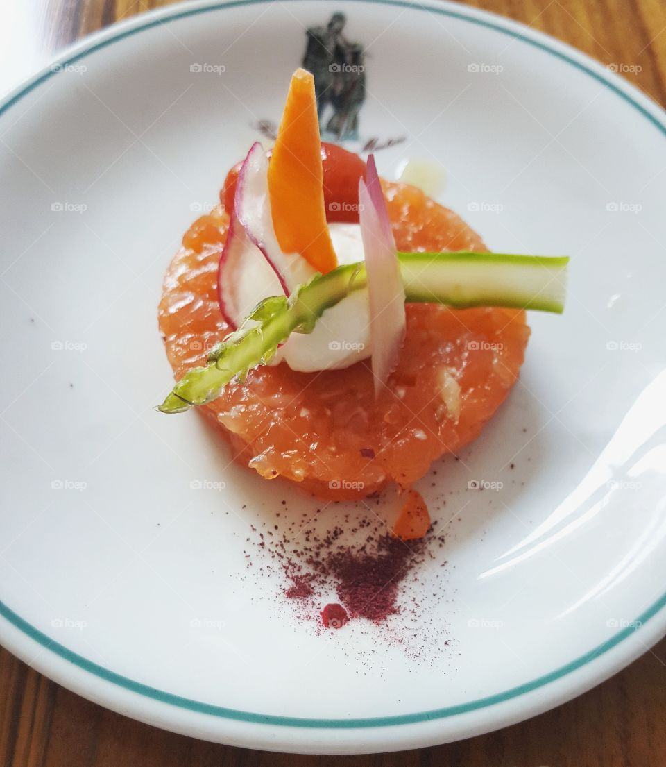 Close-up of salmon tartare on plate