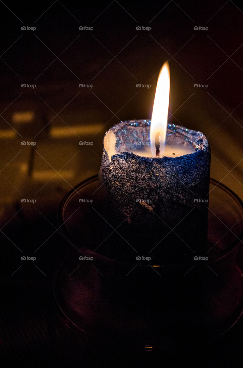 Blue and beautiful candle