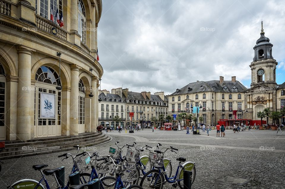 Bicycles parked in front of the city hall in Rennes