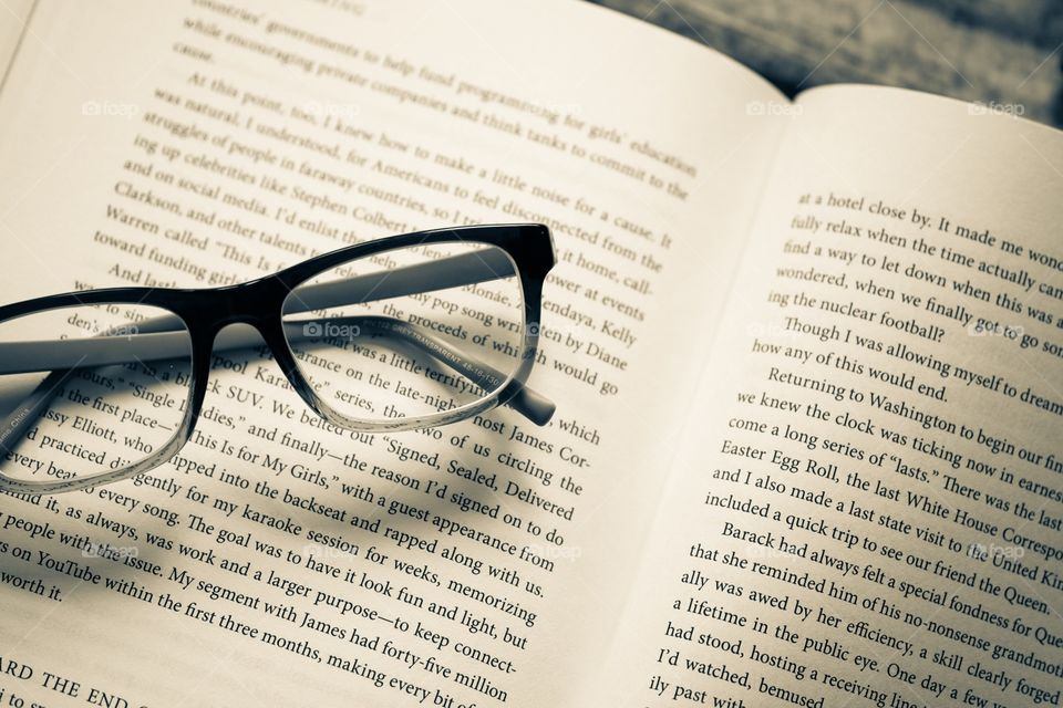 Monochromatic Book With Glasses, Open Book With Reading Glasses, Black And White Book Portrait