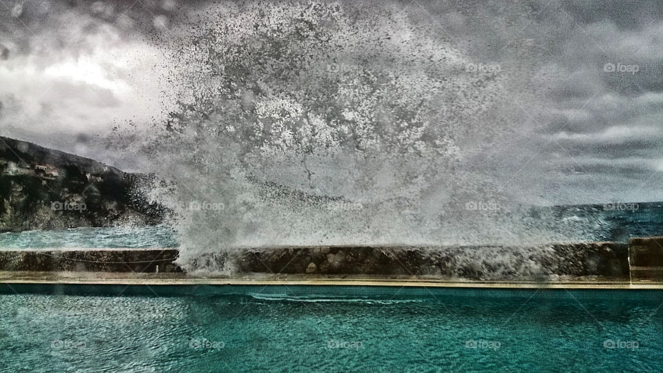 Wild sea. Stormy weather at sea side