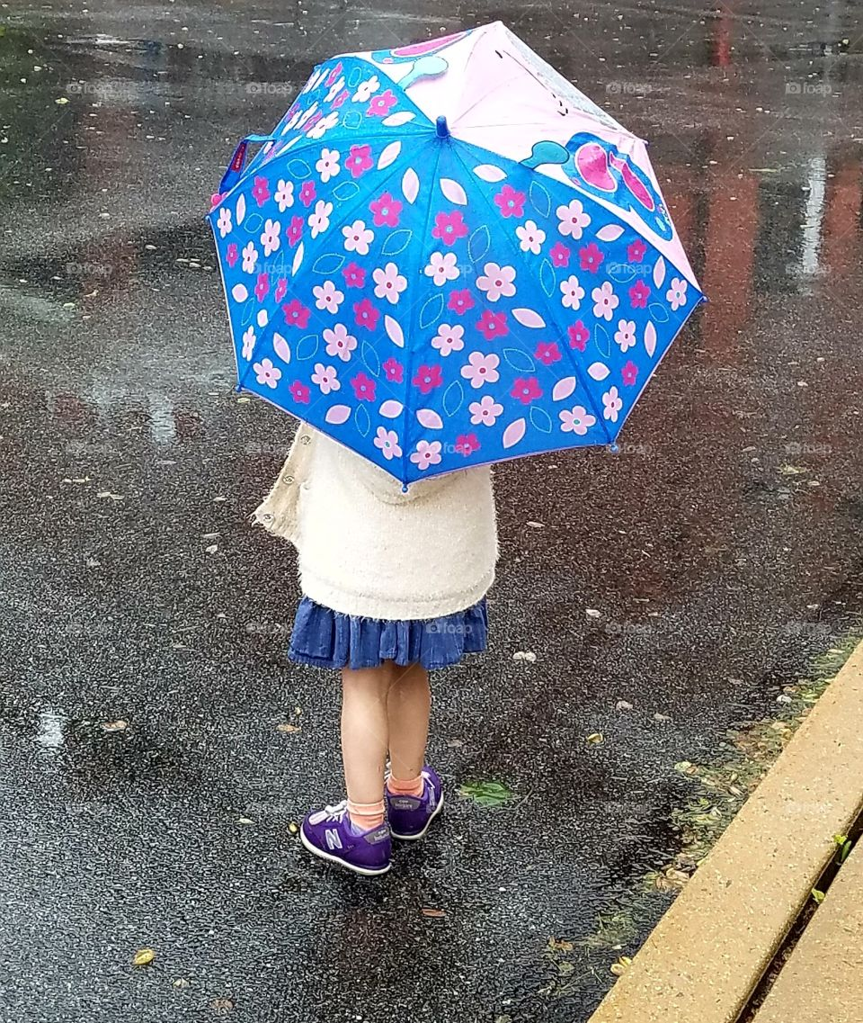 little girl on rainy day, colorful umbrella, pavement reflection