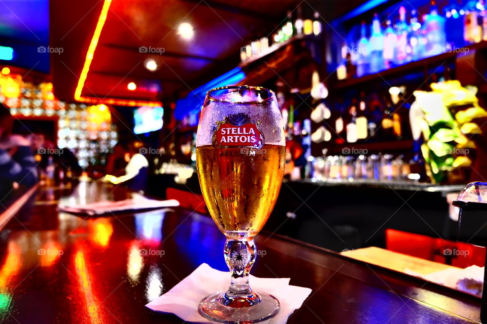 Stella Artois beer at the Shannon bar in San Francisco, Ca.