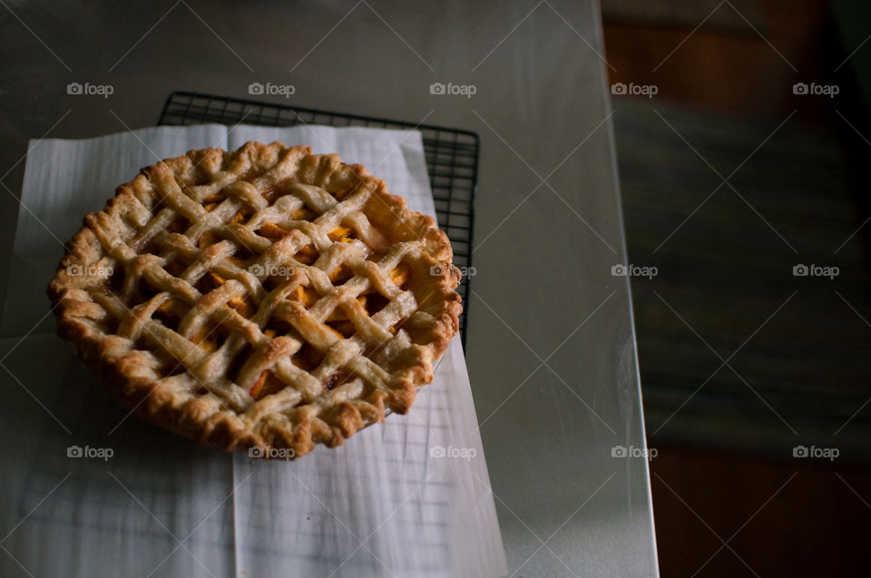 Peach pie. Peach pie, just out of the oven
