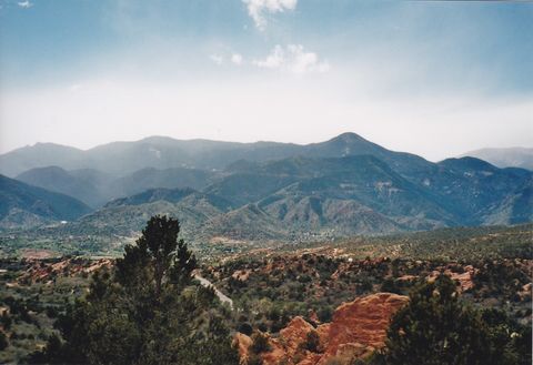 Overlooking Manitou. The view of the mountains from Garden of the Gods formations.