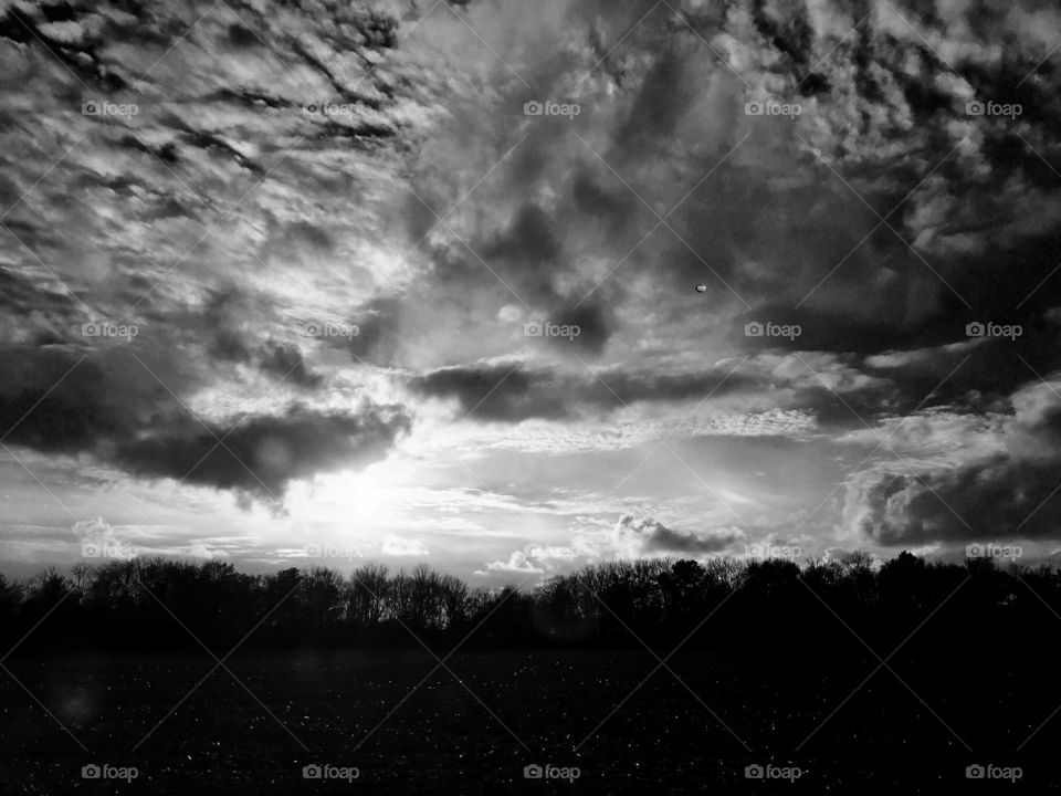 Sunset in black and white - Marion, Ohio