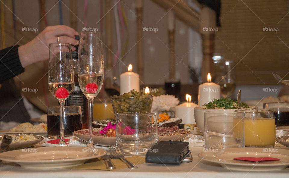 Party table with candles