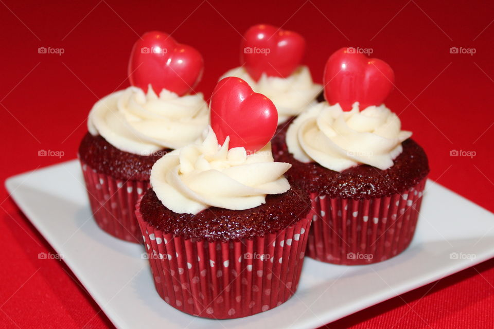 Red velvet cupcakes with buttercream