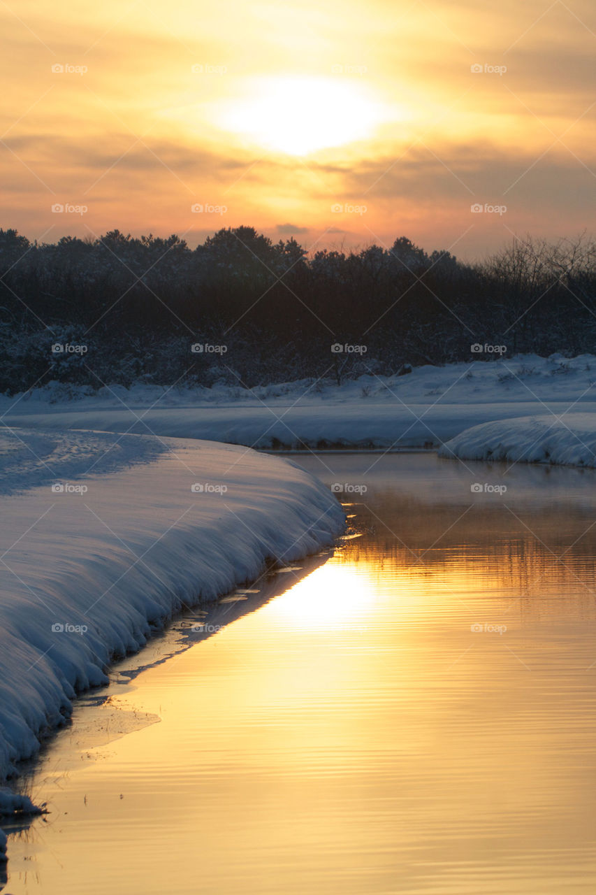 Scenic view of winter sunset