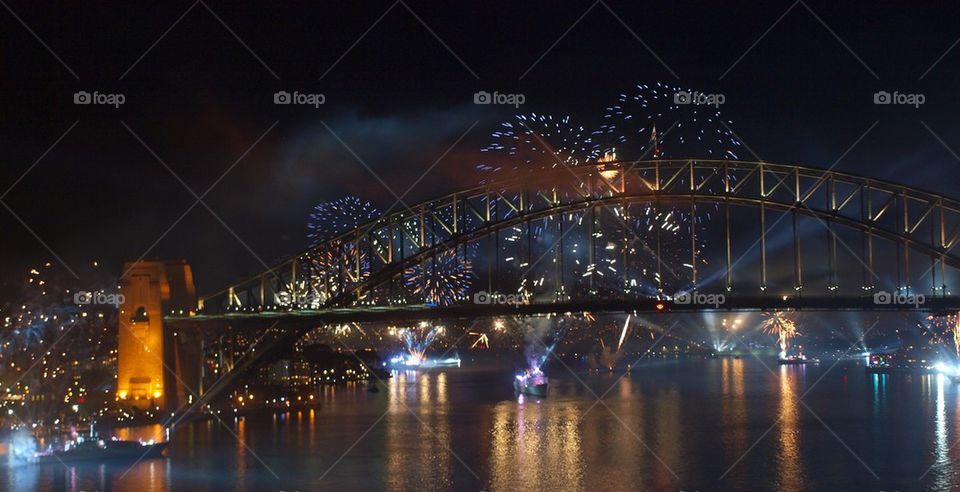 Iron bridge at night