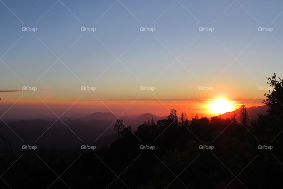 sunset at Sequoia National Forest