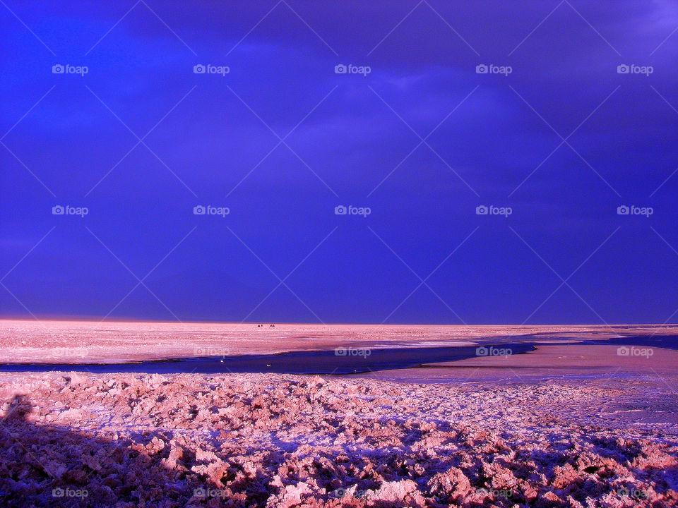 River flowing in desert