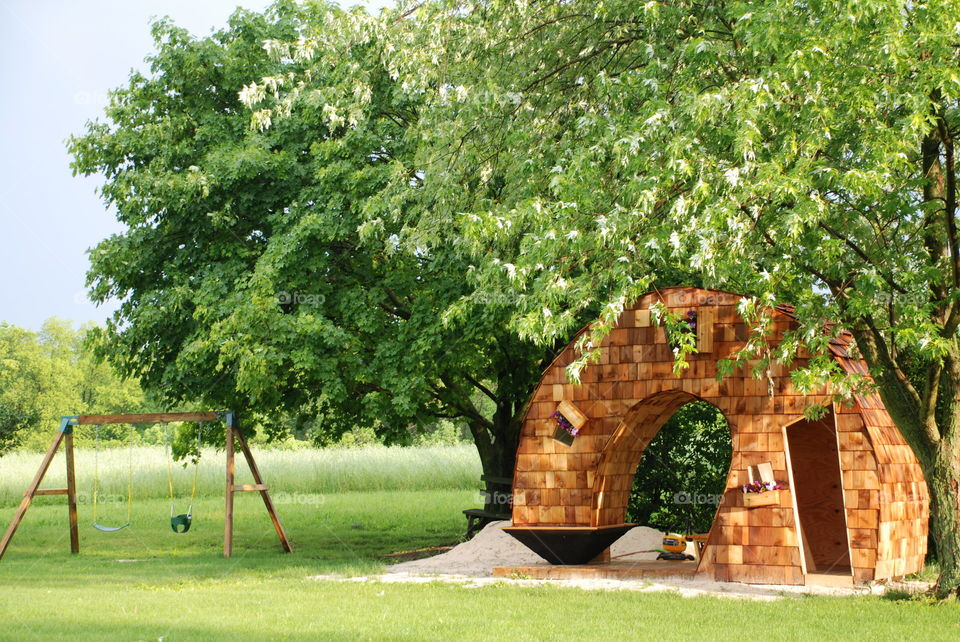 Leaning Tower Playhouse for our kids