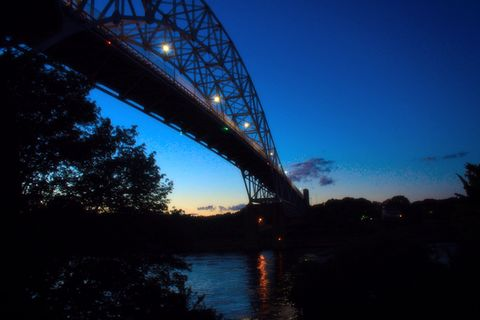 Sag at Sunset. Sagamore bridge from the Cape side, just after sunset