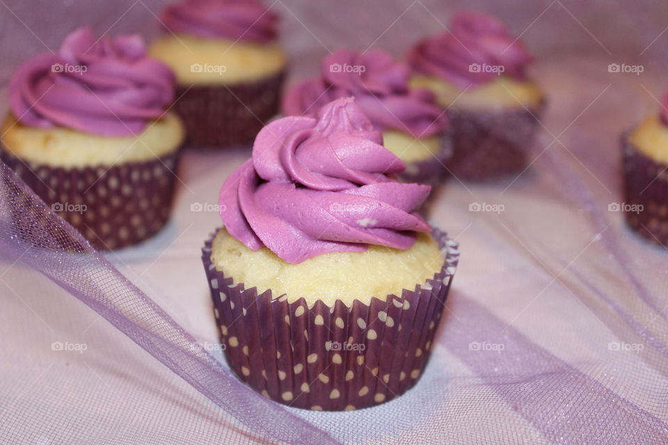 White Cupcakes with Lavender Buttercream Icing