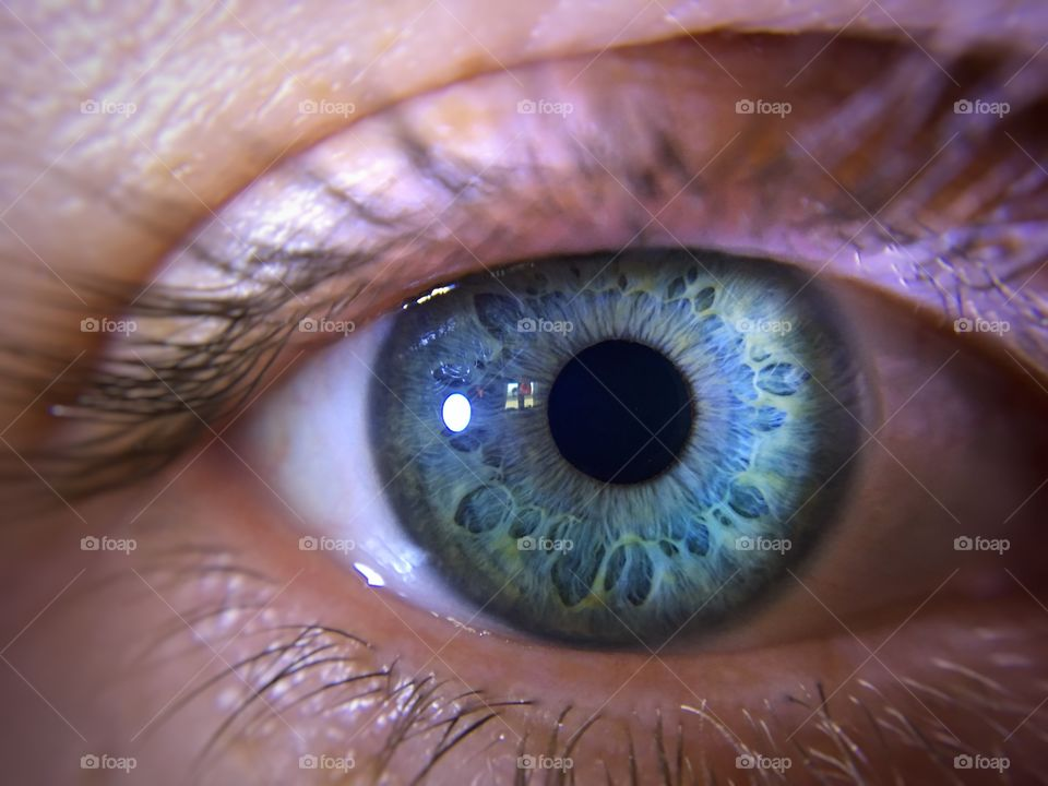 Close-up of blueish eyes
