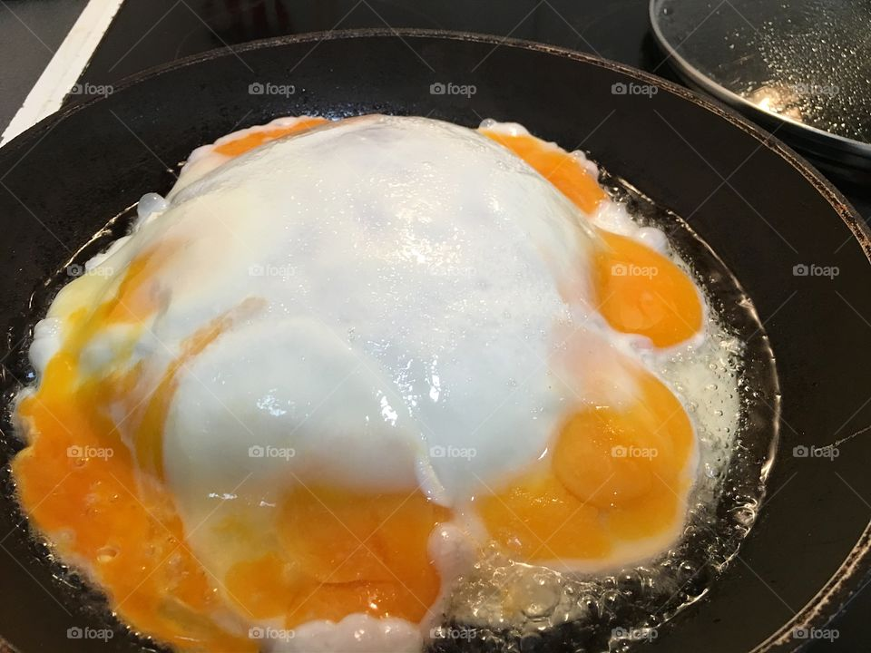 A funny throng happened to my eggs this morning. Huge bubble natural Soufflé?