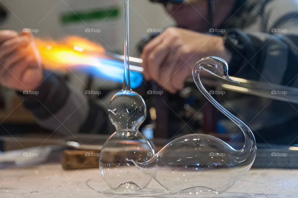 The workshop where Christmas baubles are still being handmade in old traditional way by glassblowing.