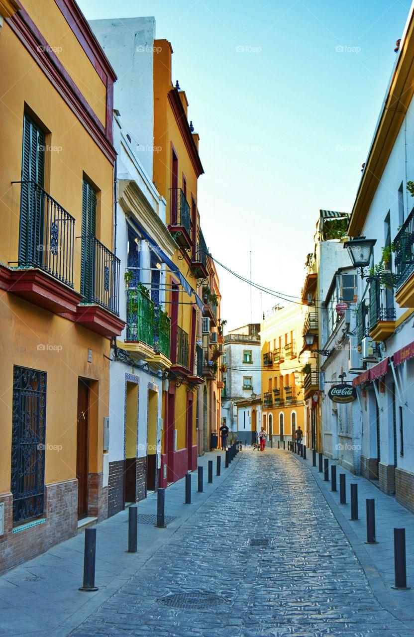 Colourful street. Colourful houses in Triana, Sevilla, Spain.