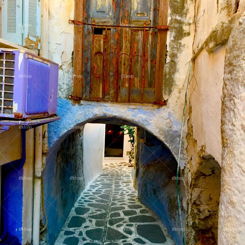Whitewashed narrow alley, Greece